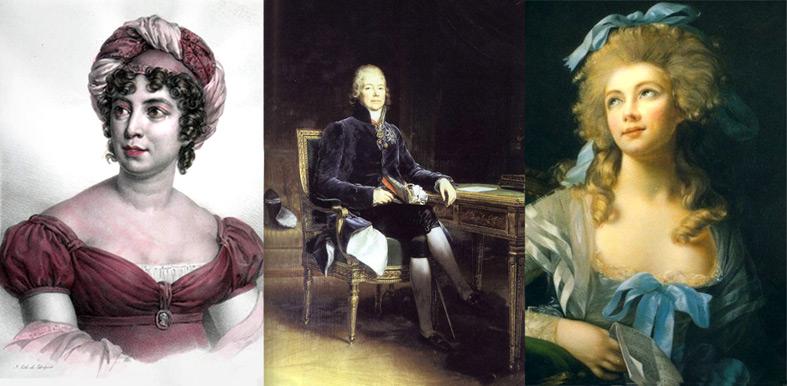 de gauche à droite : Madame de Staël, Talleyrand, Madame Grand