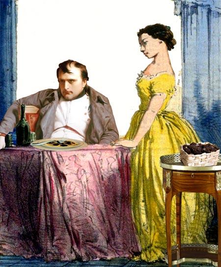 Napoléon mange ses truffes sous l'oeil de Marie-Louise en pensant à Joséphine